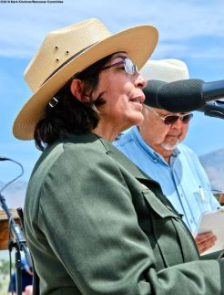 Bernadette Johnson, Superintendent, Manzanar National Historic Site, addressed the crowd during the 50th Annual Manzanar Pilgrimage.