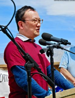 Counsel General of Japan (San Francisco) Tomochika Uyama addressed the crowd during the 50th Annual Manzanar Pilgrimage.