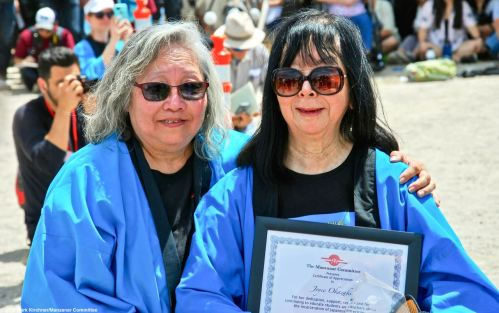 Manzanar Committee treasurer Joyce Okazaki (rightl shown here with Manzanar Committee Co-Chair Jenny Chomori) was honored by the Manzanar Committee during the 50th Annual Manzanar Pilgrimage.