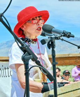 Karen Korematsu of the Korematsu Institute addressed the crowd during the 50th Annual Manzanar Pilgrimage.