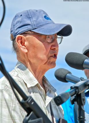2019 Sue Kunitomi Embrey Legacy Award recipient Jim Matsuoka addressed the crowd during the 50th Annual Manzanar Pilgrimage.