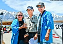 2019 Sue Kunitomi Embrey Legacy Award recipient Jim Matsuoka (center) with Manzanar Committee Co-Chairs Jenny Chomori (left) and Bruce Embrey (right).