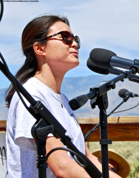 UCSD Nikkei Student Union Co-President Lauren Matsumoto addressed the crowd during the 50th Annual Manzanar Pilgrimage.