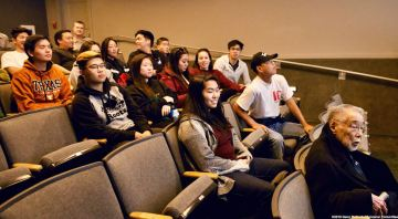 "Katari students listening to a presentation on ""How We Do History"" at Manzanar National Historic Site."
