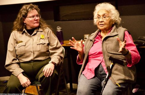 Beverly Newell, an elder in the Lone Pine Paiute-Shoshone community (right) with Manzanar NHS Chief of Interpretation Alisa Lynch Broch.