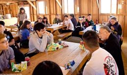 Lunch in the replica mess hall in Block 14. Students heard from former Amache iincarceree Min Tonai and former Manzanar incarceree Yoshiye Okimoto Hayashi about how bad the food was in camp, along with how the mess hall dining worked to destroy the family unit in camp.
