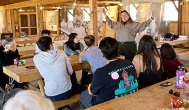 "Block 14 mess hall. Manzanar NHS Chief of Interpretation Alisa Lynch begins a presentation on the Manzanar ""Riot."""
