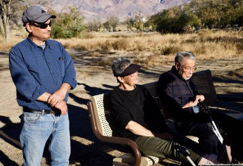 From left: Manzanar Committee Co-Chair Bruce Embrey; former Manzanar incarceree Pat Sakamoto; former Amache incarceree Min Tonai. They listened in while Katari students heard the story about Manzanar's orphanage, Children's Village, where 101 orphans were incarcerated during World War II.