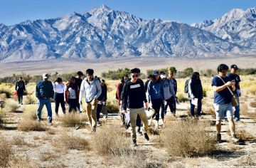 Day 2: at the location of Block 20, where Sue Kunitomi Embrey, former chair of the Manzanar Committee and the driving force behind the creation of the Manzanar National Historic Site, lived while she was incarcerated at Manzanar.