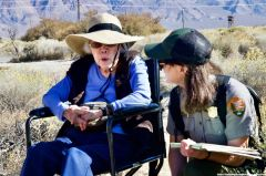 The location of Block 31 at Manzanar. Former Manzanar incarceree Yoshiye Okimoto Haoashi (left) is shown here telling students about her life in Block 31. Yoshiye is shown here with ranger Rose Masters (right).
