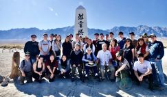 Group photo at the Manzanar cemetery.