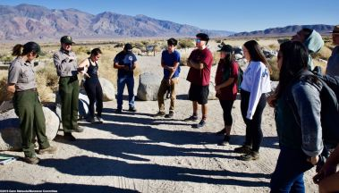 Manzabar Reservoir: Students learned about the history of water at Manzanar (and the Owens Valley) and about the signs of resistance in the inscriptions etched into the walls of the reservoir by the incarcerees who worked on the reservoir crew.