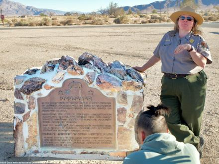 Ranger Alisa Lynch Broch begins a discussion about how Manzanar became a National Historic Site.