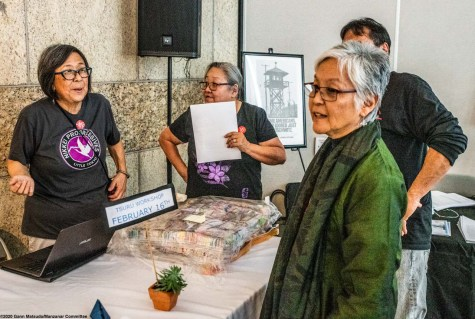 From left: Kathy Masaoka, Jenny Chomori, Dr. Satsuki Ina (foreground right). Bruce Embrey is obscured, behind Satsuki Ina